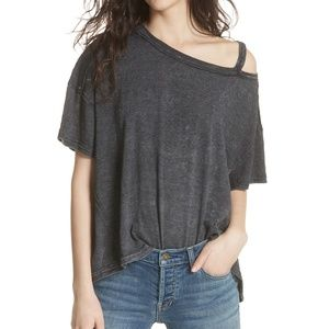 Free People Alex Cold Shoulder T-Shirt Gray Top